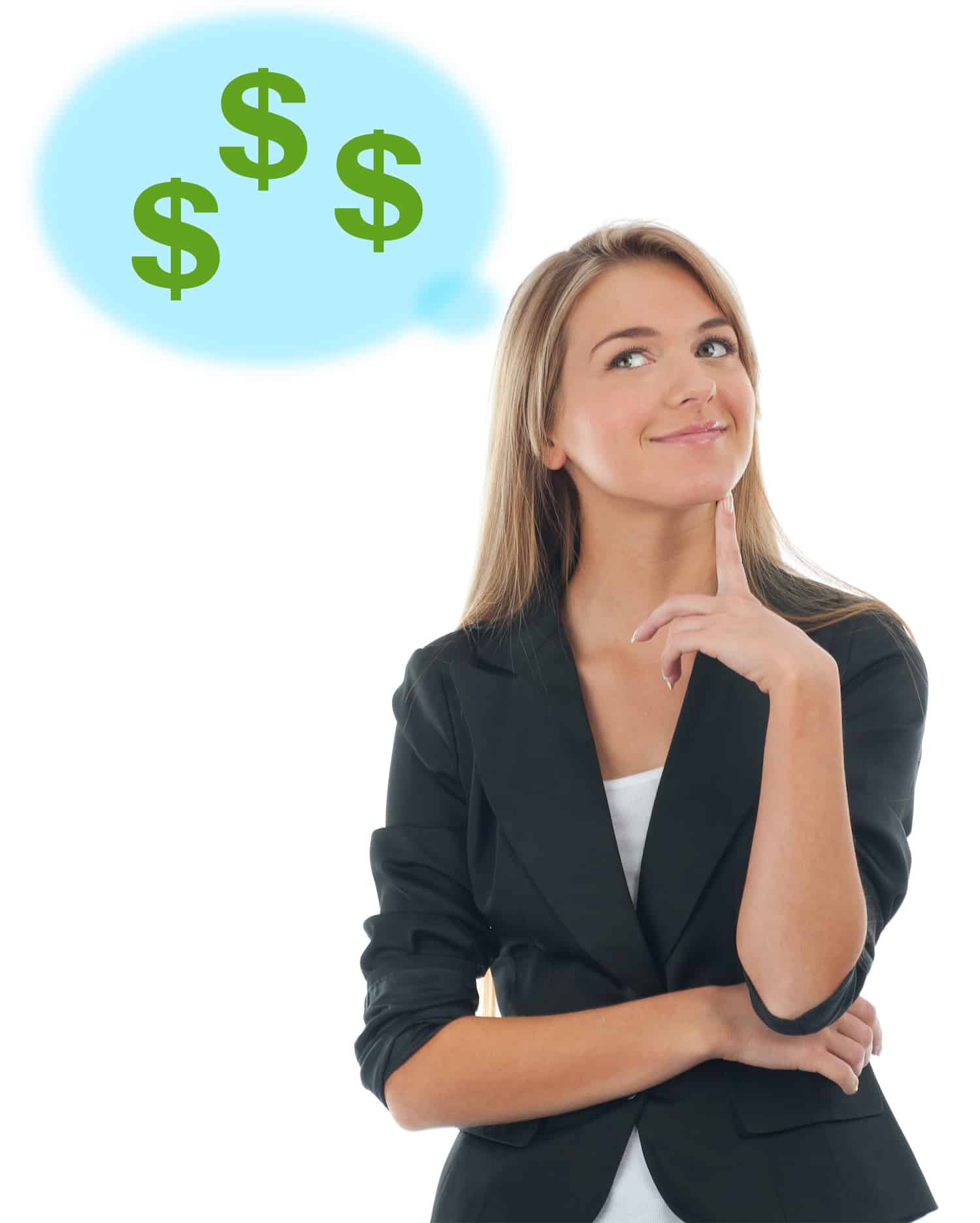 Attractive young business woman thinking about money and smiling. Isolated on white background
