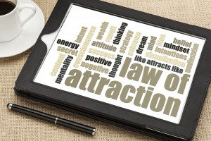 Law of attraction word cloud on tablet